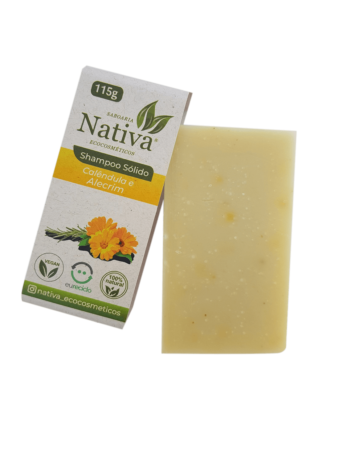 Shampoo Sólido - Calêndula e Alecrim Rosmarinus  - Saboaria Nativa Ecocosméticos