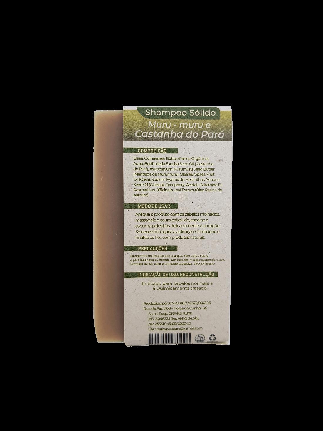 Shampoo Sólido - Castanha do Pará e Murumuru  - Saboaria Nativa Ecocosméticos