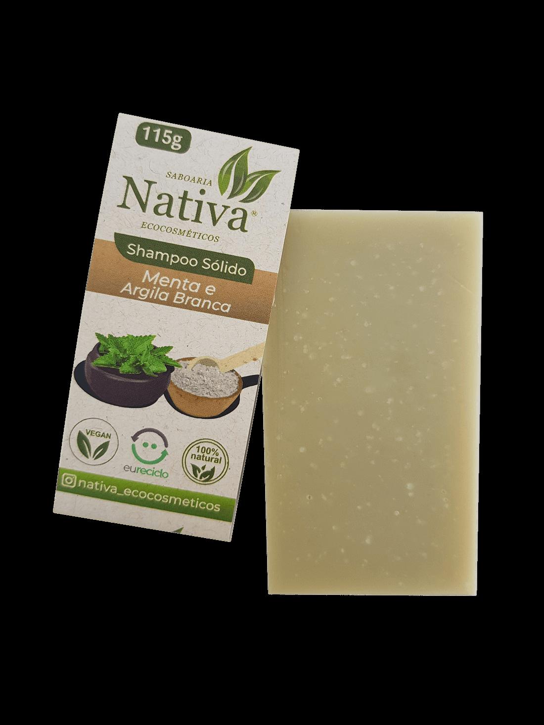 Shampoo Sólido- Menta e Argila Branca  - Saboaria Nativa Ecocosméticos