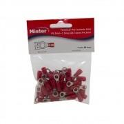 Terminal Anel 1,5mm isolado Vermelho pacote com 50 Mister
