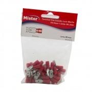 Terminal Luva Macho 1,5mm Isolado Vermelho pacote com 50 Mister