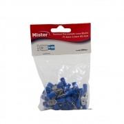 Terminal Luva Macho 2,5mm Isolado Azul pacote com 50 Mister