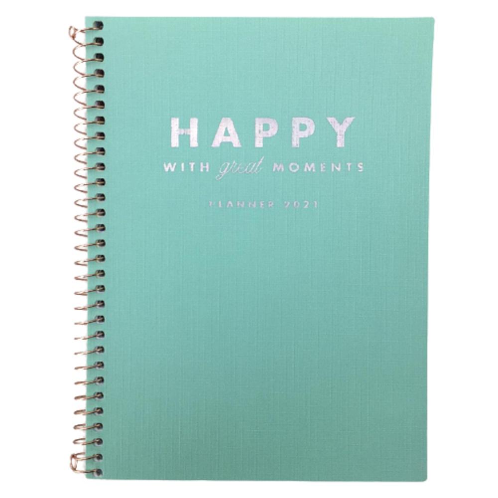Agenda Planner 80 Folhas Espiral Happy Verde