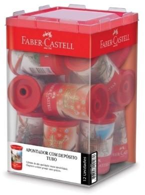 Apontador com Deposito Decor. Tubo Plastico Decorado (12 Unidades) - Faber Castell