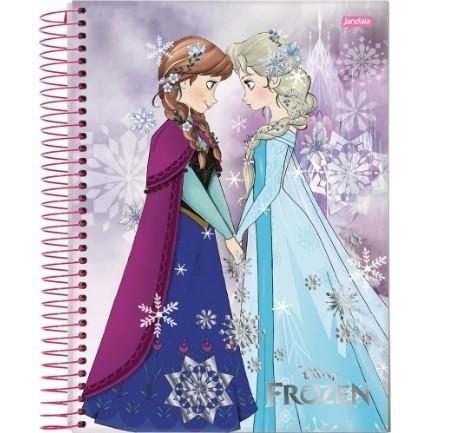 Caderno Espiral C.D. 1 Matérias Frozen Magic  96 Folhas - Jandaia