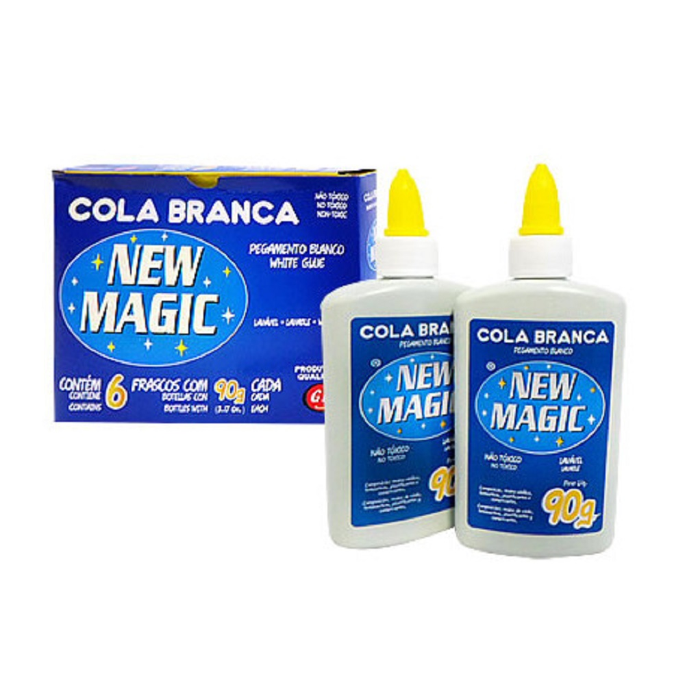 Caixa Cola Branca 90g C/ 6 Unidades - New Magic