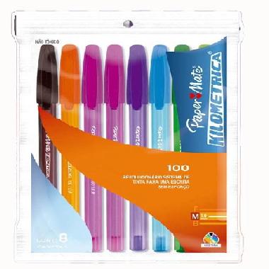 Caneta Kilometrica 100 Colorzs Sortida - Paper Mate (8 Unidades)