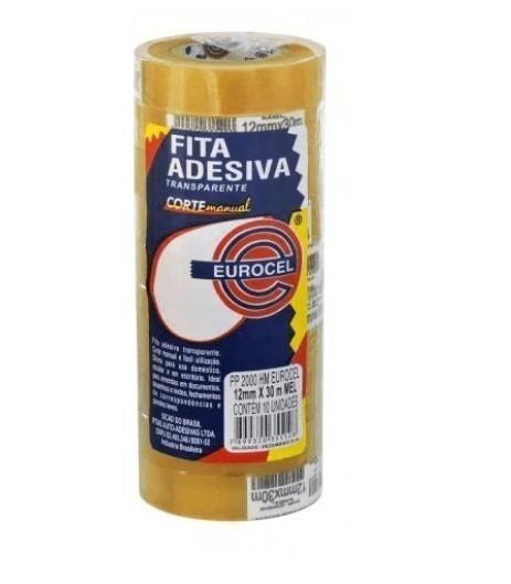 Fita Adesiva PP200 12mm x 30m Transparente (10 unidades) - Eurocel