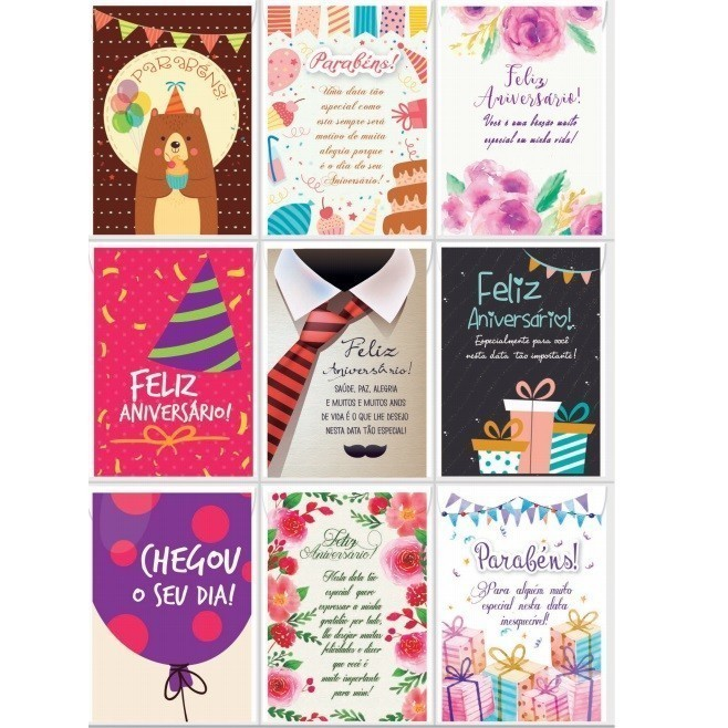 Cartão de Mensagem para Aniversário - Bello Cards (27 Unidades)