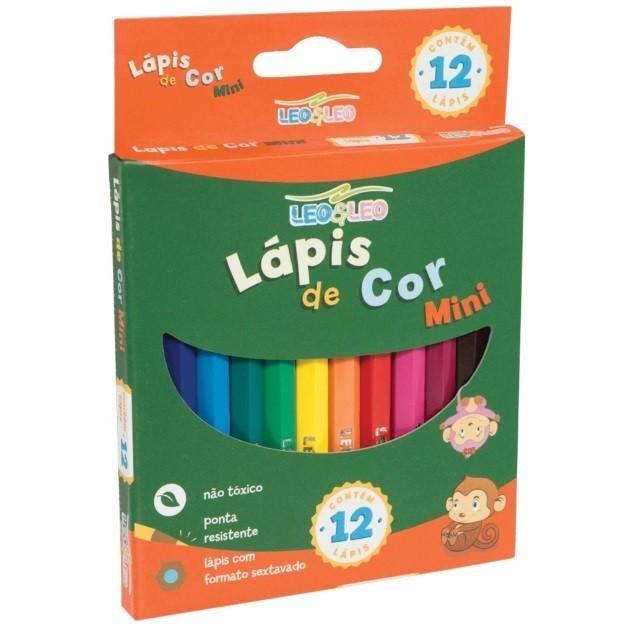 Lápis de Cor Sextavado 12 Cores Curto - Leo - Leo