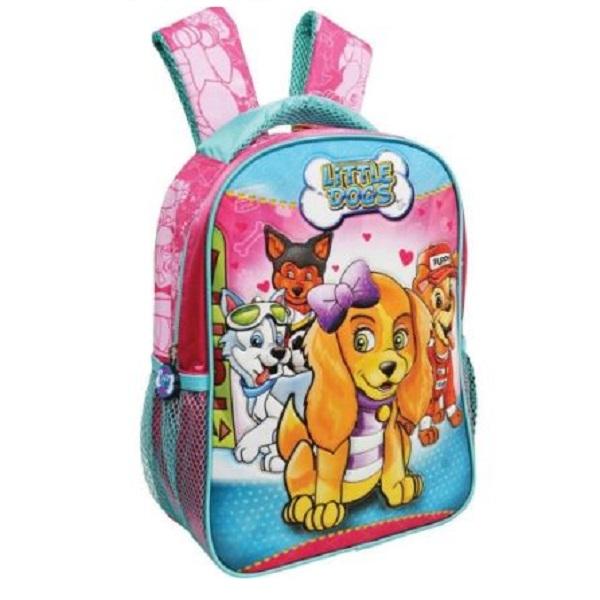 Mochila Escolar Little Dogs Media Feminina 2 Bolsos- Kit