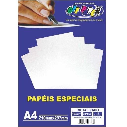 Papel Metalizado A4 BRANCO 150g - Off Paper