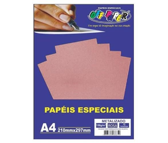 Papel Metalizado A4 ROSA 150g - Off Paper