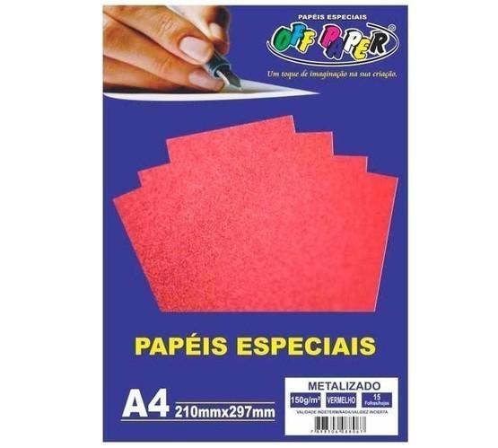 Papel Metalizado A4 VERMELHO 150g - Off Paper