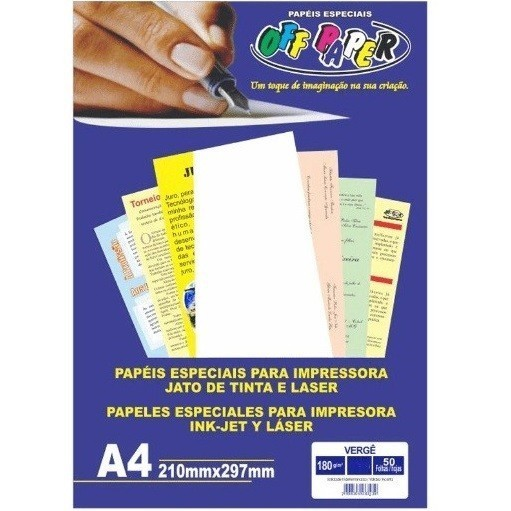 Papel Verge A4 BRANCO 180g - Off Paper