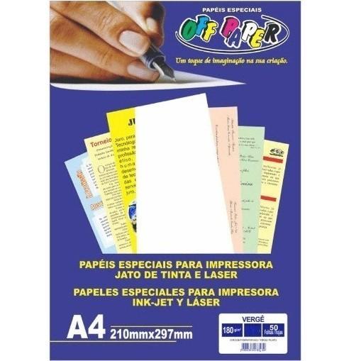 Papel Verge A4 SALMÃO 180g - Off Paper