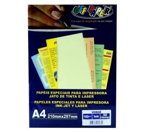 Papel Verge A4 VERDE 180g - Off Paper