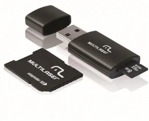 Pen Drive + Adaptador SD + Cartão se Memória Classe 4 com Trava de Segurança 8GB PRETO - MC058