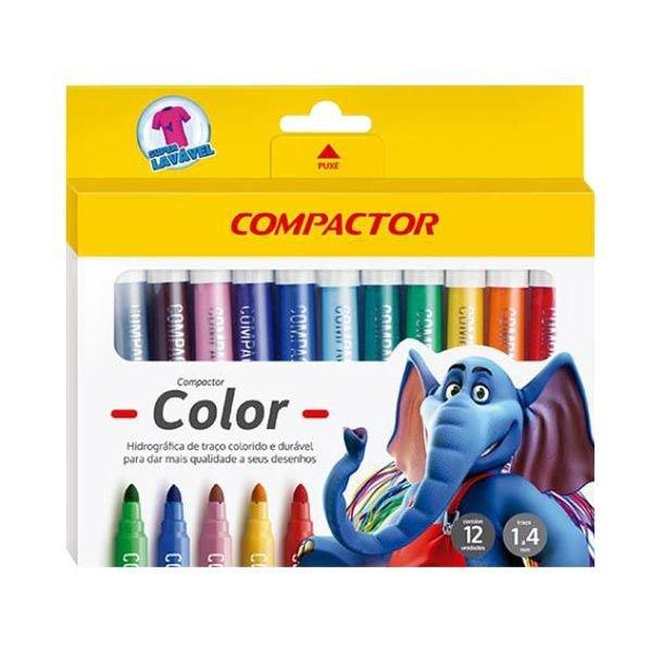 Pincel Color 12 Cores - Compactor (5 Unidades)