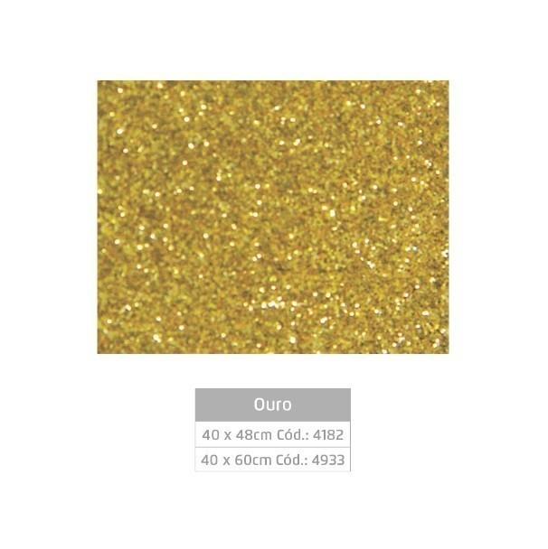 Folhas de EVA Glitter OURO - Jocar