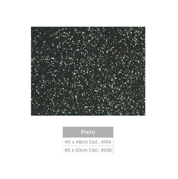 Folhas de EVA Glitter PRETO - Jocar
