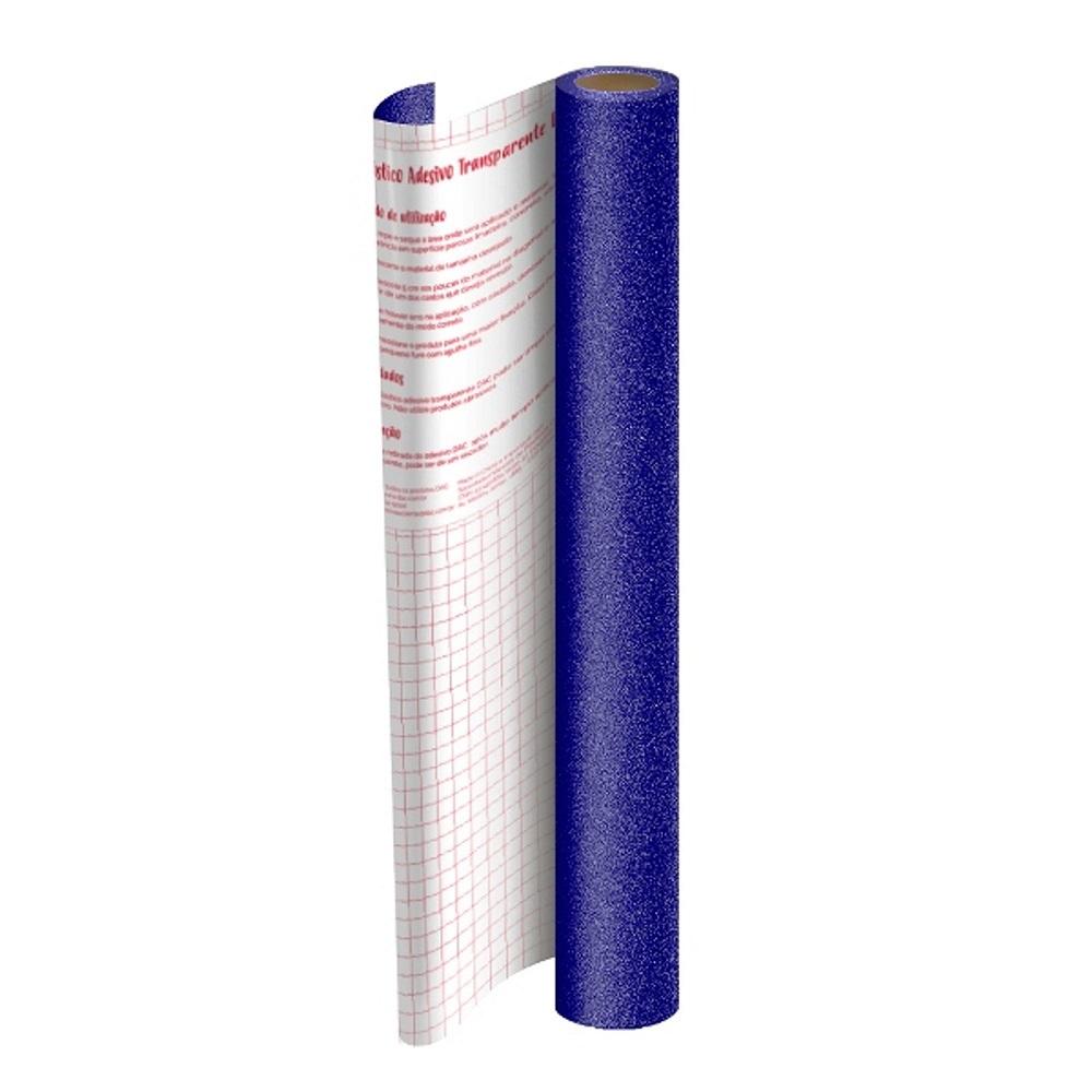 Plástico Adesivo 45cmx10m Glitter Azul Dac