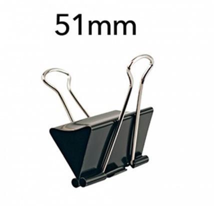 Prendedor de Papel 51mm 100 Folhas PRETO (12 Unidades)