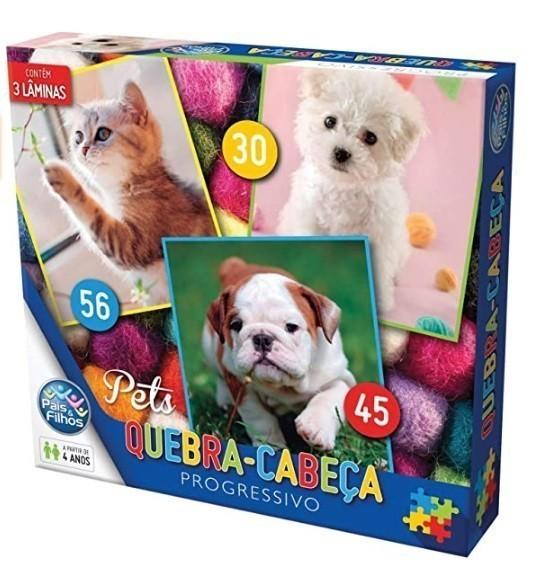 Quebra Cabeça Cartonado Pets Progressivo 30/45/56 Peças - Pais & Filhos