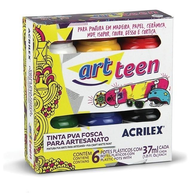 Tinta Fosca Para Artes 37ml 6 Cores SORTIDO - Acrilex