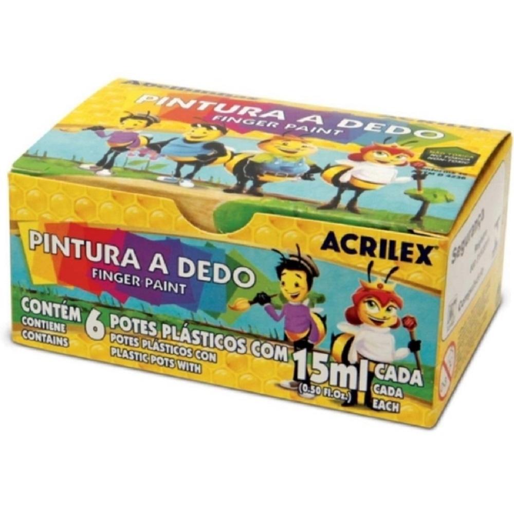 Tinta Pintura A Dedo 06 Cores 15ml Guache PCT C/6 -  ACRILEX