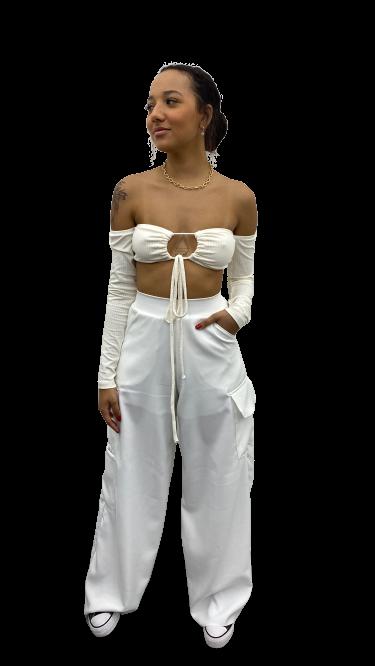 Calça Pantalona Cloe Off-white Sem Botão