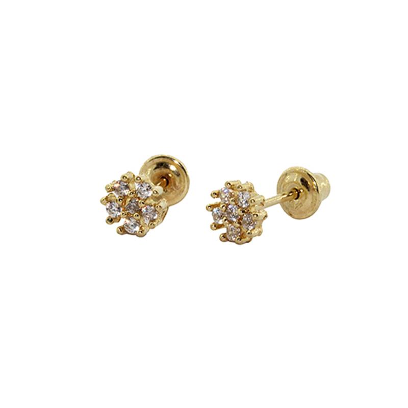 Brinco Com Tarraxa Baby em Ouro 18k (750) Flor 6 Pedras