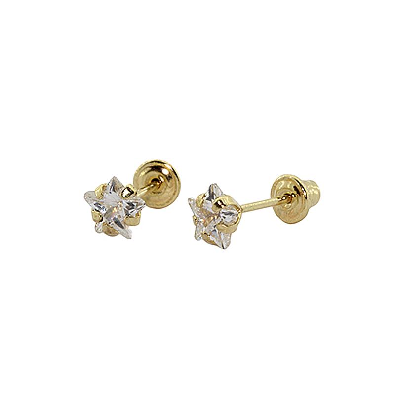 Brinco Com Tarraxa Baby em Ouro 18k (750) Zirconia Estrela 4mm