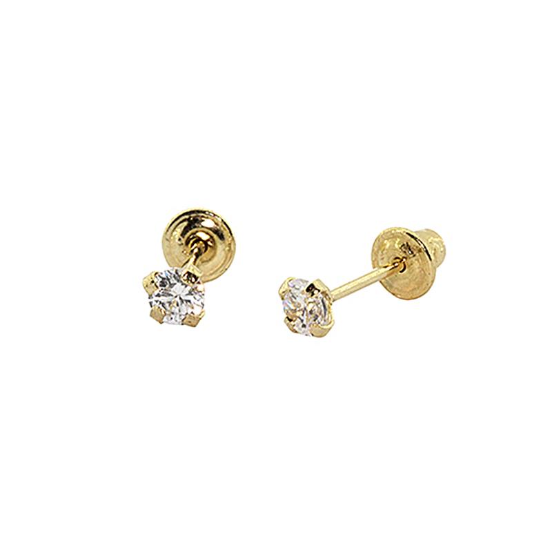 Brinco Com Tarraxa Baby em Ouro 18k (750) Zirconia Redonda 3mm