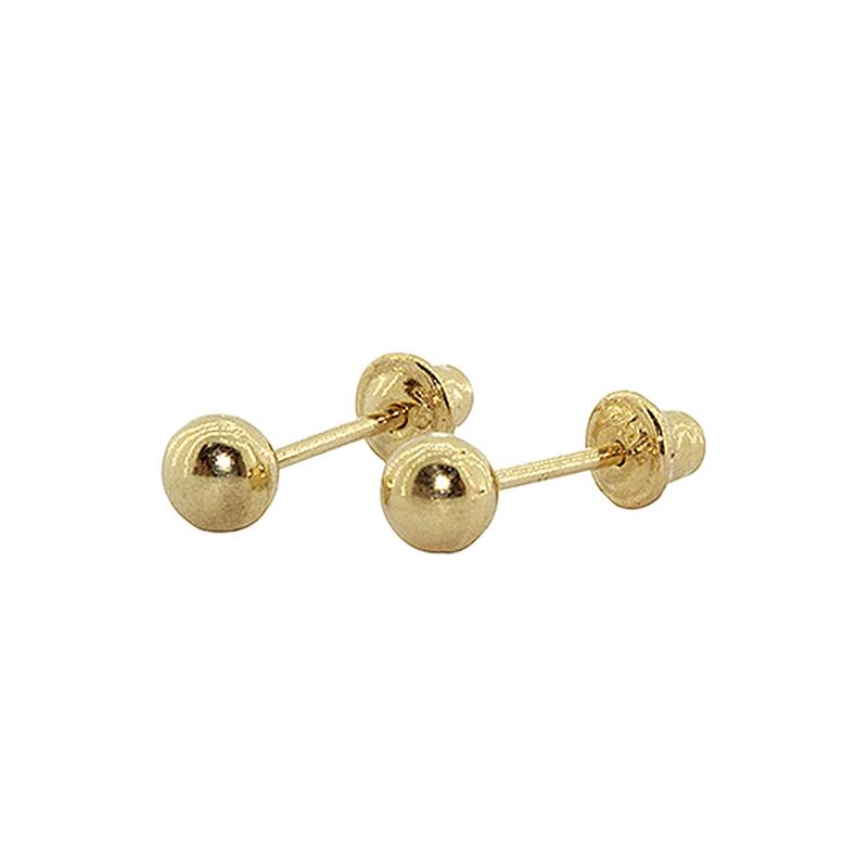 Brinco Com Tarraxa Baby em Ouro 18k (750) Bolinha 3mm