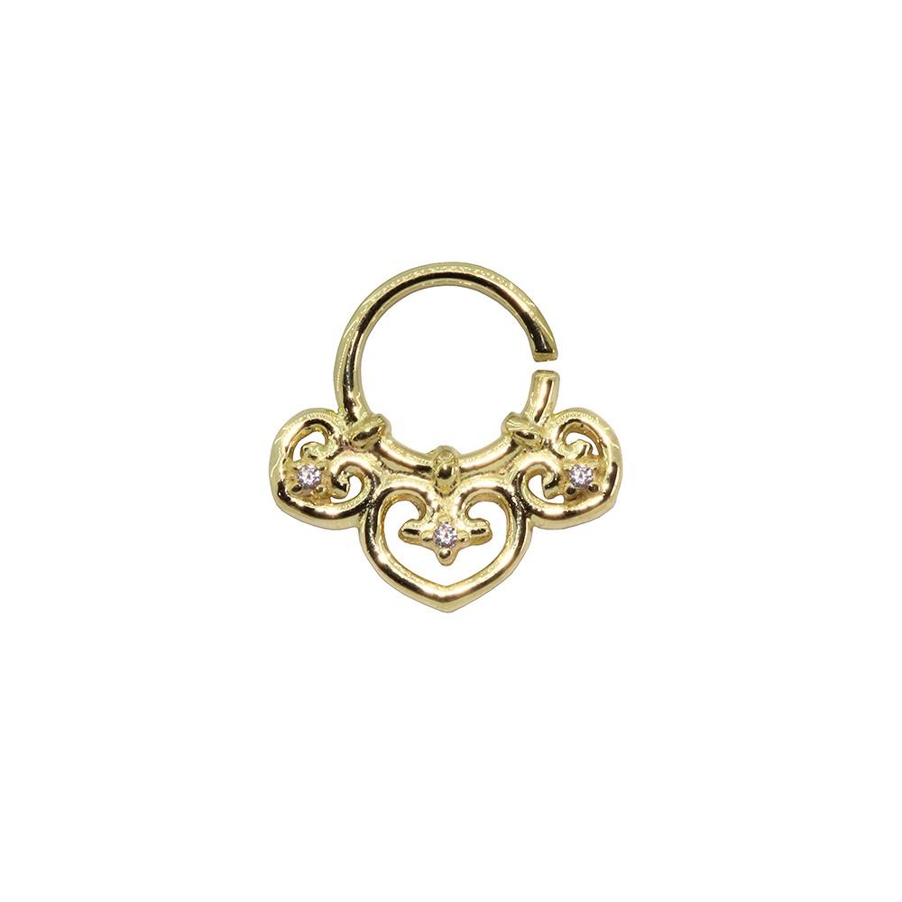 Piercing Argola em Ouro 18k 3 Corações Helix - Daith