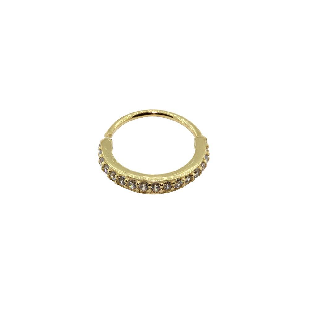 Piercing Argola Helix Cravejada em Ouro 18k