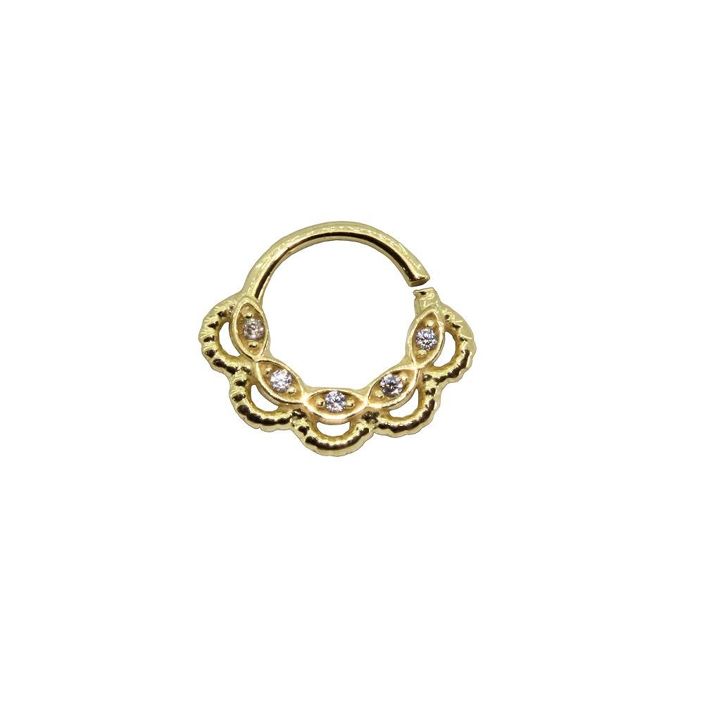 Piercing Argola em Ouro 18k com Pedra Helix - Daith