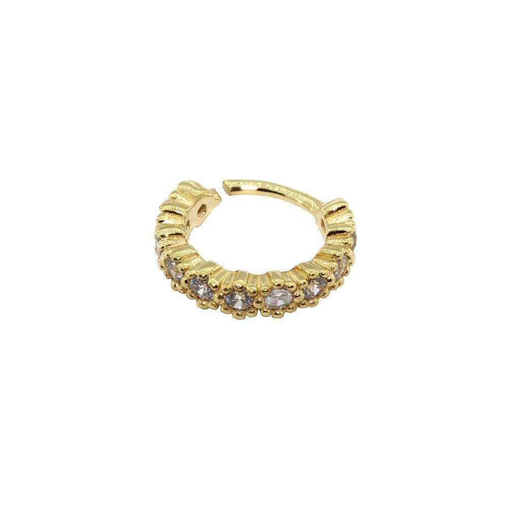 Piercing Argola Cravejada em Ouro 18k Helix