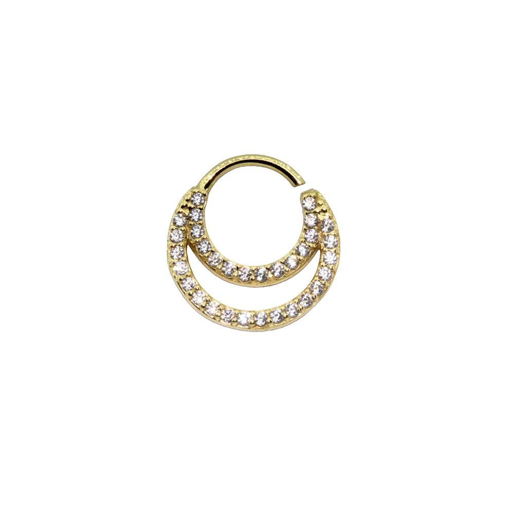 Piercing Argola Cravejada em Ouro 18k Helix - Daith