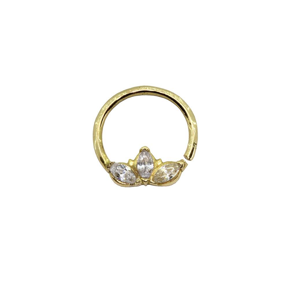 Piercing Argola Três Pedras em Ouro 18k Helix - Daith