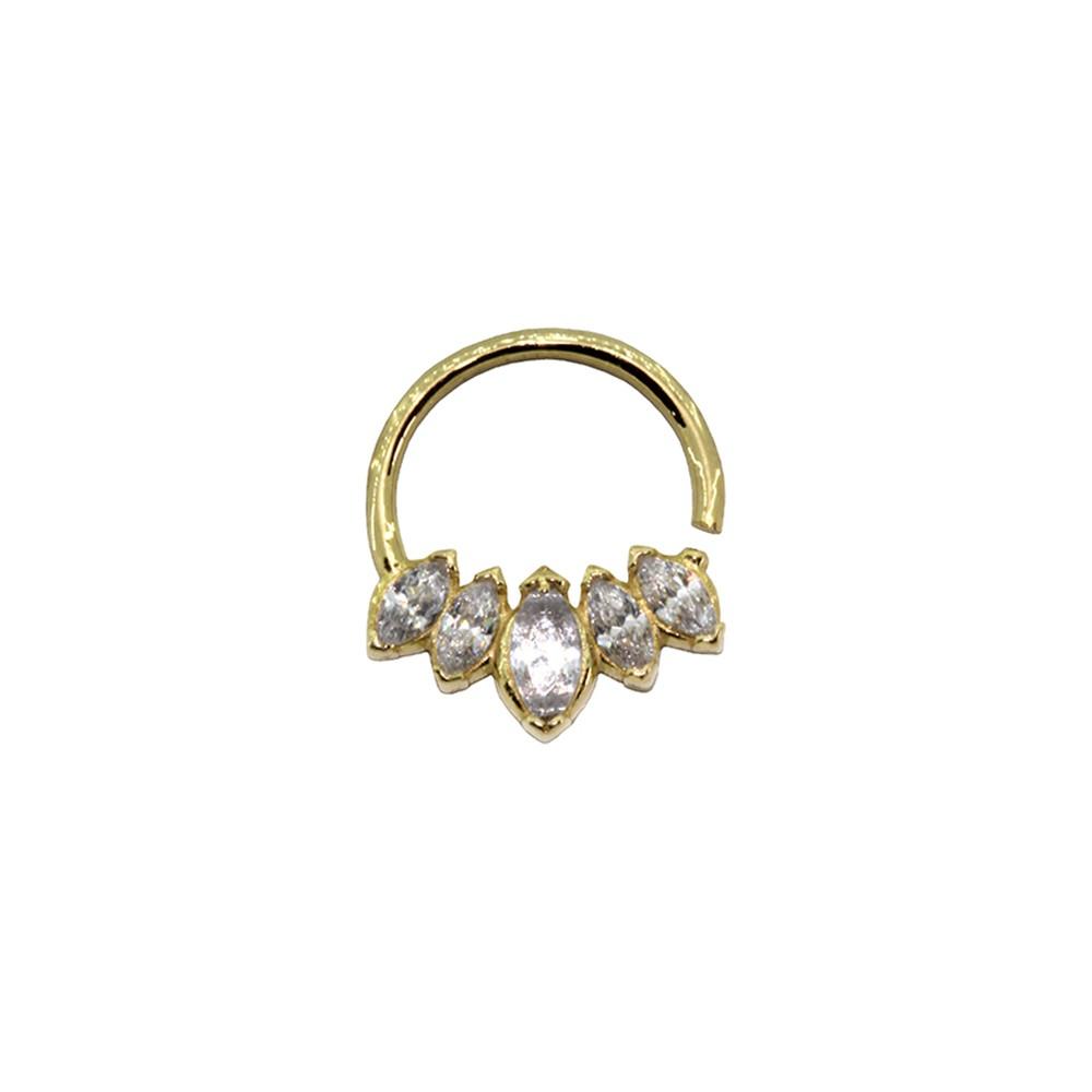 Piercing Argola Cinco Pedras em Ouro 18k Helix - Daith