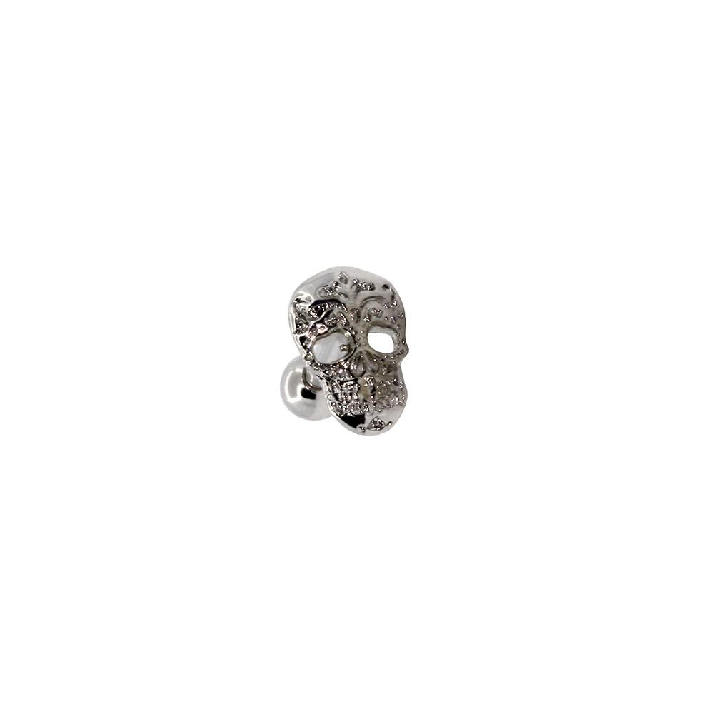 Piercing Helix - Tragus Prata 925 Caveira Mexicana
