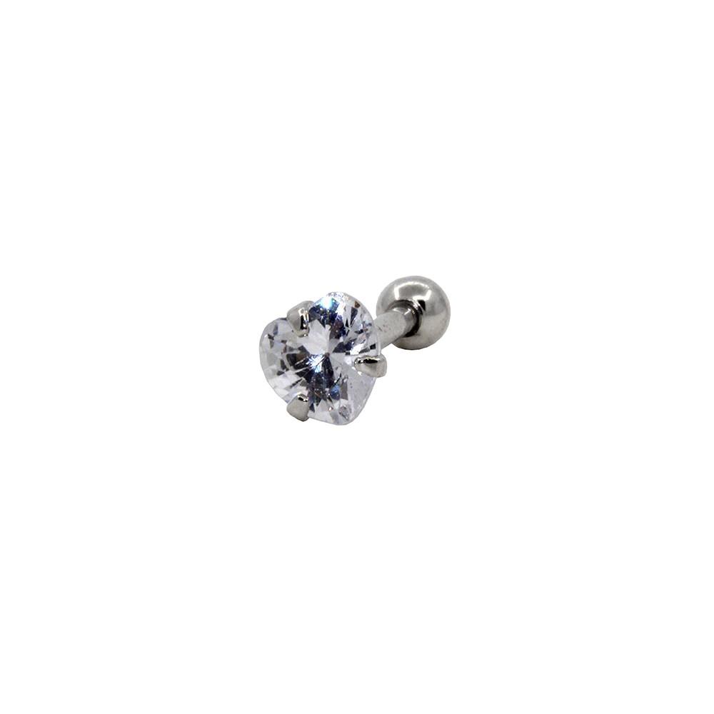 Piercing Ponto de Luz Helix - Tragus Prata 925 Coração