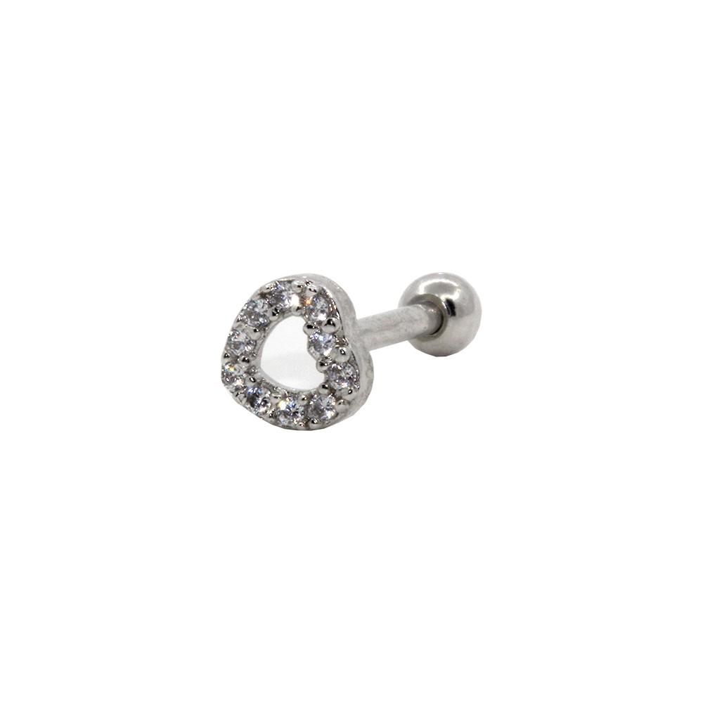 Piercing Helix Prata 925 Coração Microzircônia