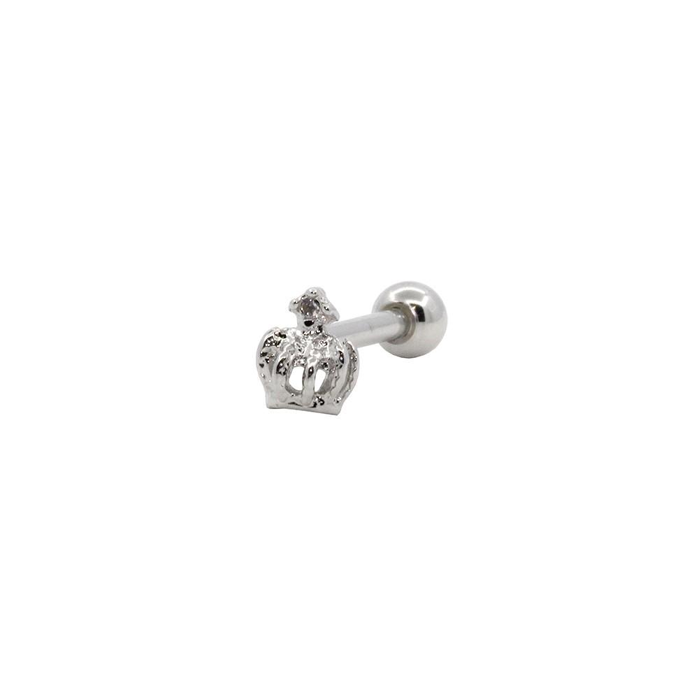Piercing Cartilagem Prata 925 Coroa de Fátima