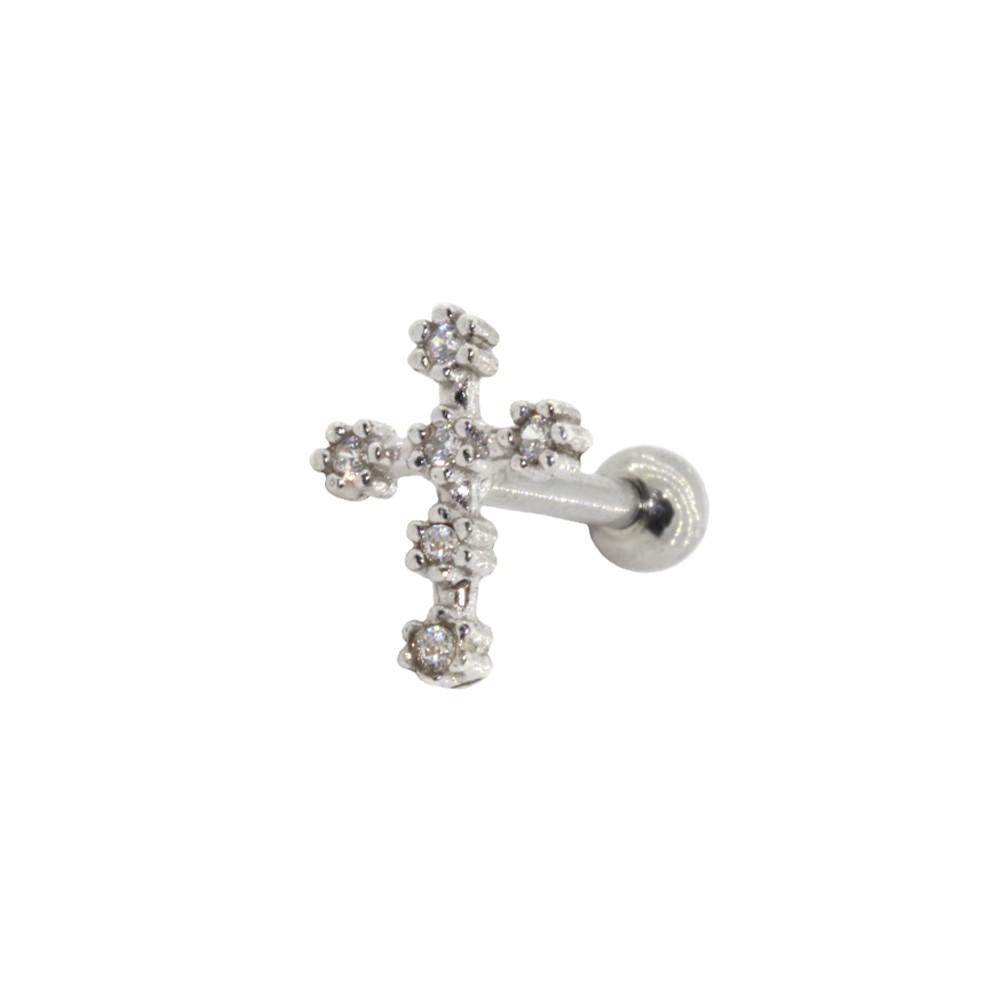 Piercing Cartilagem Prata 925 Crucifixo Cravejado