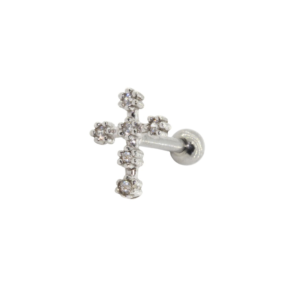 Piercing Helix - Tragus Prata 925 Crucifixo Cravejado