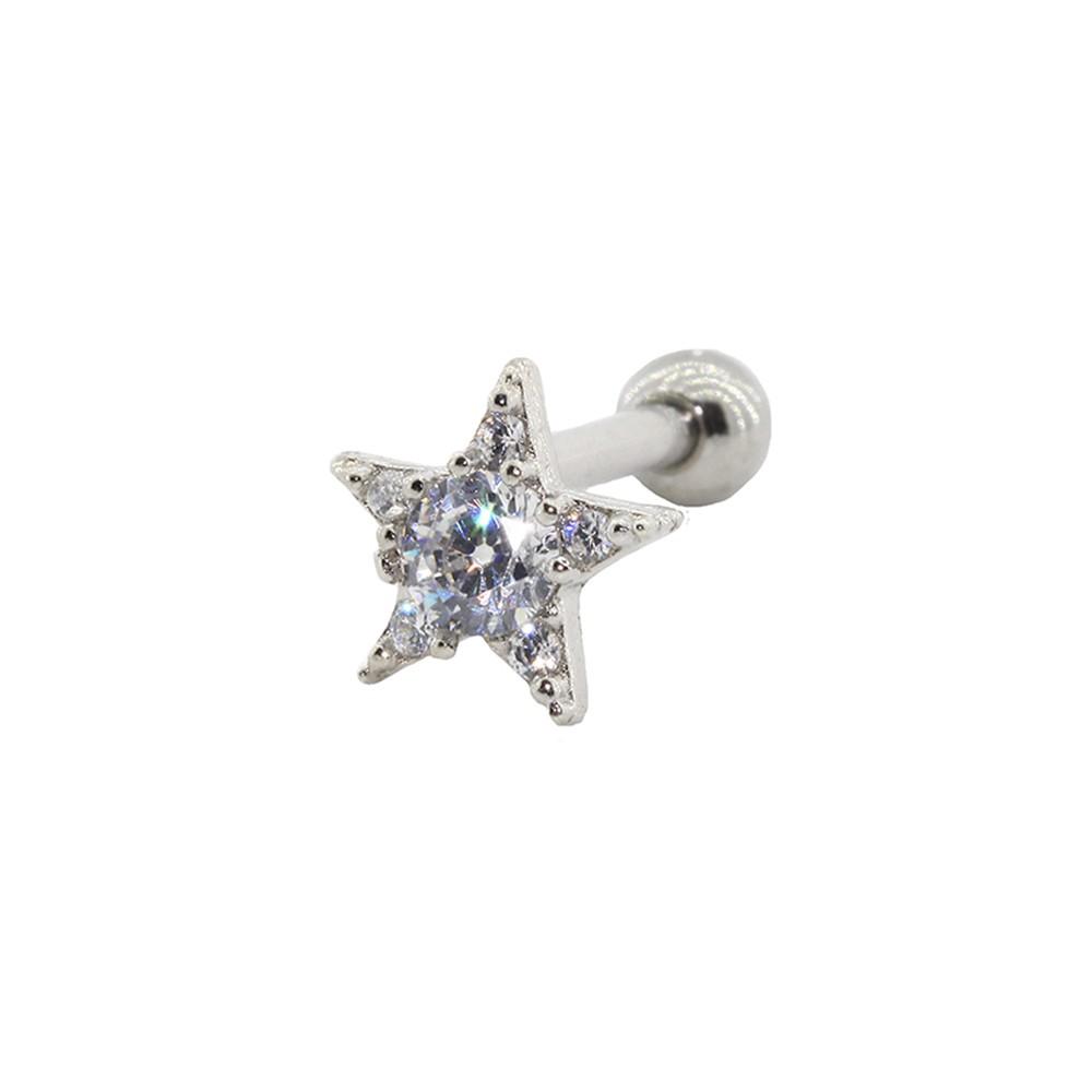 Piercing Helix - Tragus Prata 925 Estrela Cravejada