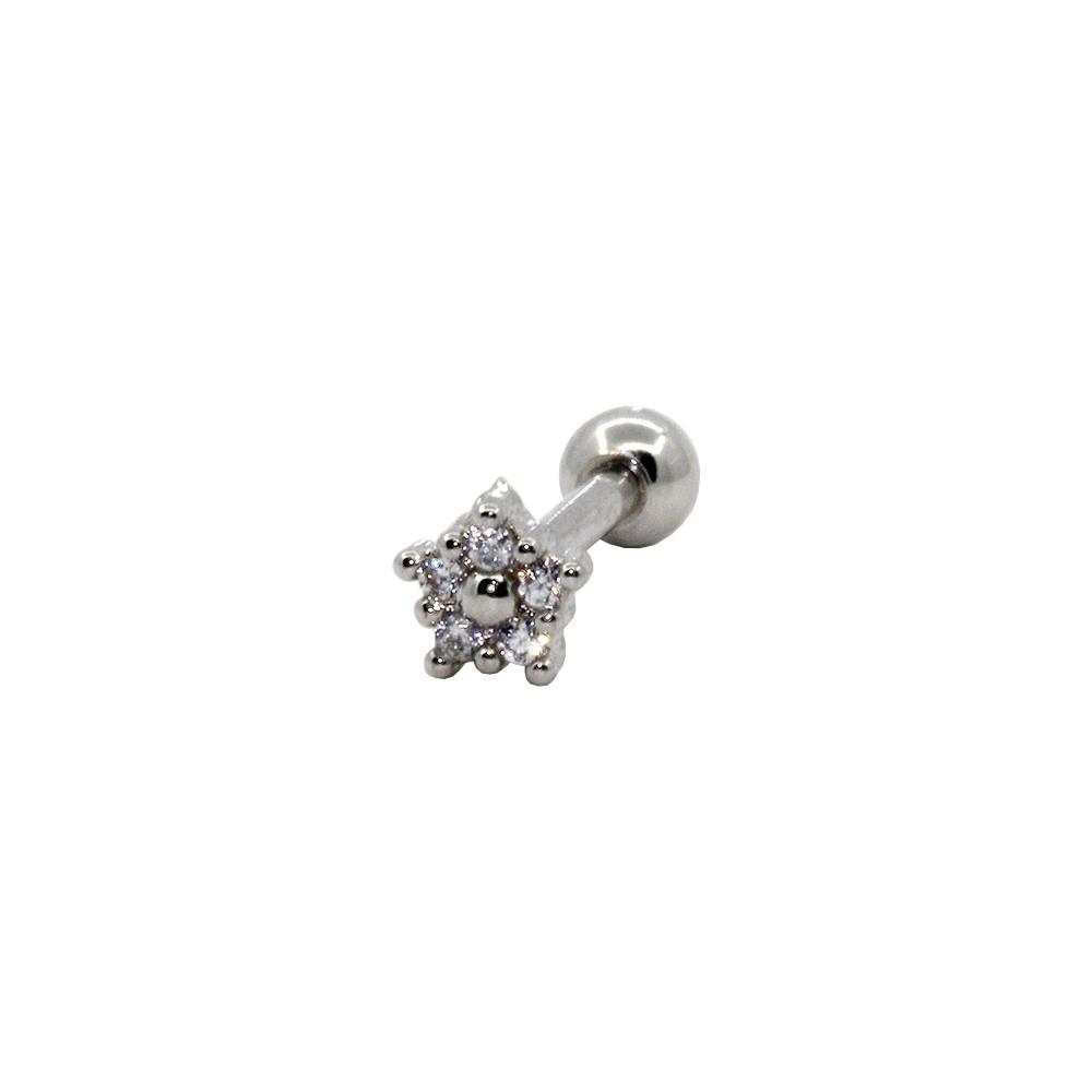 Piercing Helix Tragus Prata 925 Flor 5 pedras